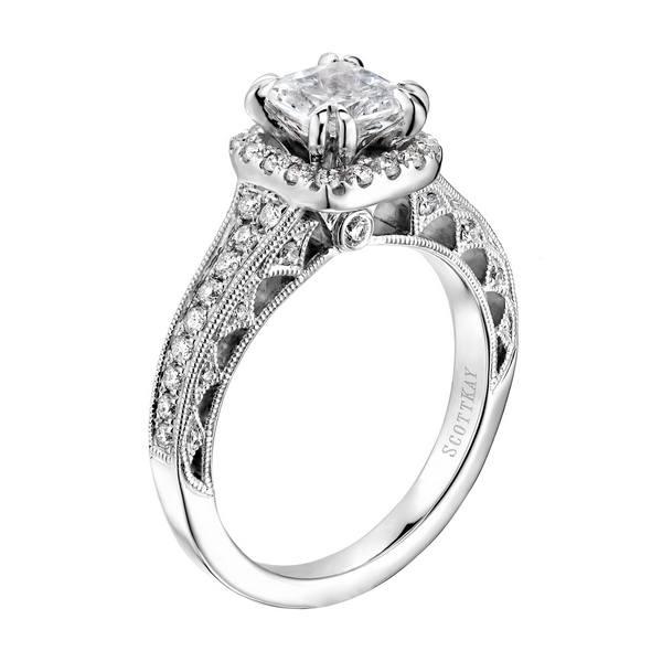 Scott Kay Engagement Rings: 14K White Gold Scott Kay Heaven's Gate Engagement Ring