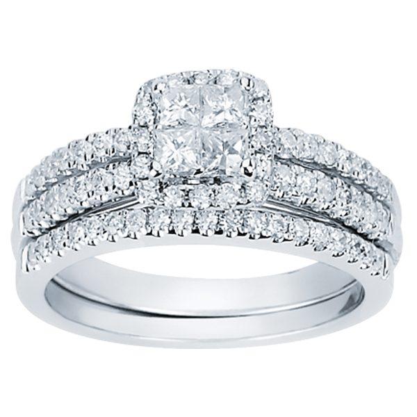 14k White Gold Square Halo Diamond Bridal Set Dominic S Fine Jewelry