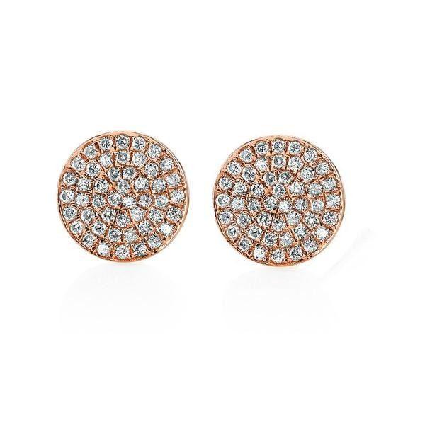 14k Rose Gold Round Diamond Earrings