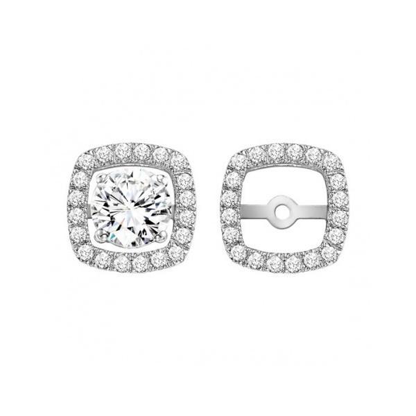 Square Shaped Diamond Double Halo Earring Jackets 14k White Gold 45ct