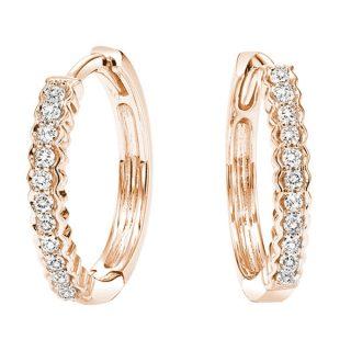 10k Rose Gold Diamond Hoop Earrings