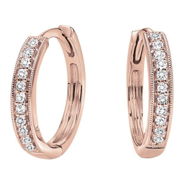 10k Rose Gold Hoop Diamond Earrings