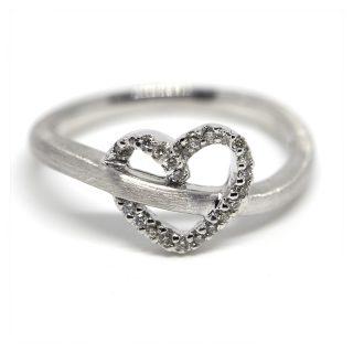 14K White Gold Heart Ring